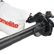 Das Homelite Laubsauger Kombigerät - einsatzbereit als Laubsauger mit montierten Laubauffangsack